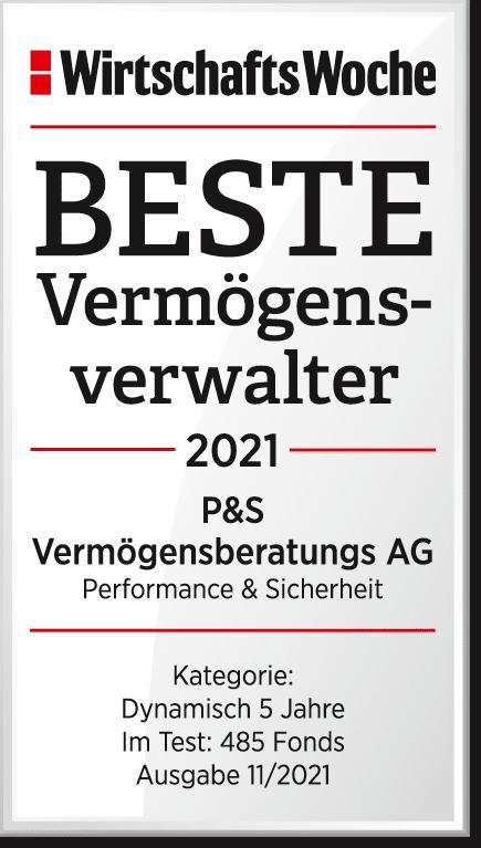 Abbildung Siegel Auszeichnung P&S Anlage Beste Vermögensverwalter 2021